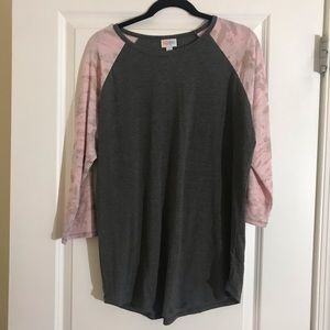 LuLaRoe XL Randy Tee Grey Body & Pink Sleeves